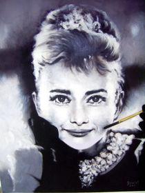Portrait Malerei - Audrey Hepburn_(Frühstück bei Tiffany) by Geert Bordich