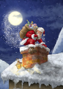 Santa Claus in chimney by arthousedesign