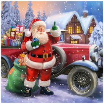 Santa Claus with classic car by arthousedesign