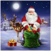 American style Santa with reindeer by arthousedesign