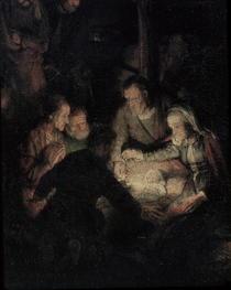 Die Anbetung der Hirten, Detail von Rembrandt Harmenszoon van Rijn