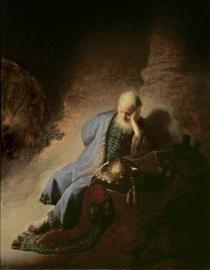 Jeremias trauert über die Zerstörung von Jerusalem by Rembrandt Harmenszoon van Rijn
