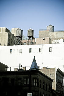 New York City Buildings and Water Towers On Roofs by Perry  van Munster