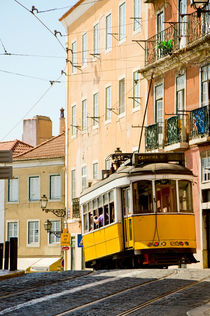 Old tram in the Alfama by Perry  van Munster