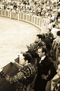 Participants in bullfight waiting to perform. by Perry  van Munster