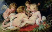 Jesuskind mit Johannes dem Täufer und zwei Engeln von Peter Paul Rubens