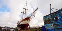 Segelschiff in Werft von Rolf Müller