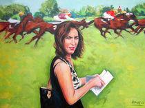Menschen Malerei - Evelyne beim Pferderennen in Iffezheim von Geert Bordich