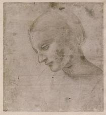 Kopf einer jungen Frau oder Leiter der Virgin by Leonardo Da Vinci