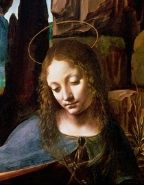 Detail des Leiters der Jungfrau, von der Madonna in der Felsengr von Leonardo Da Vinci