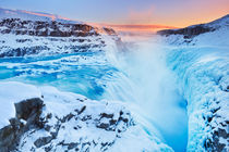 Frozen Gullfoss Falls in Iceland in winter at sunset by Sara Winter