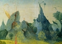 The Garden of Eden, detail from the right panel of The Garden of by Hieronymus Bosch