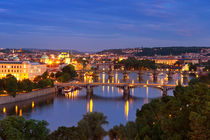 Bridges over the Vltava River, Prague, Czech Republic at night by Sara Winter