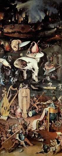 The Garden of Earthly Delights: Hell, right wing of triptych by Hieronymus Bosch