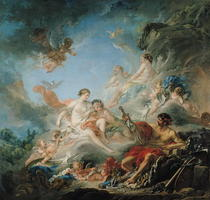 The Forge of Vulcan, or Vulcan presenting arms for Aeneas to Ven by Francois Boucher