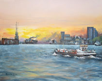 Malerei Landschaft - Hamburger Hafen im Abendlicht von Geert Bordich