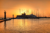 The sunrise at the old port of Rhodes, Greece by Constantinos Iliopoulos