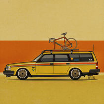 Yellow Volvo 245 Wagon With Bike (Square) von monkeycrisisonmars
