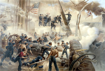 624-a-battle-at-sea-civil-war-color-painting