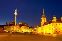 Castle Square in Warsaw, Poland at night by Sara Winter
