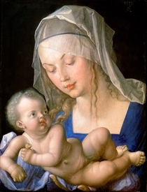Virgin and child holding a half-eaten pear by Albrecht Dürer