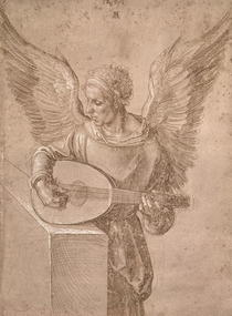 Angel playing a lute by Albrecht Dürer