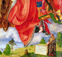 The Landauer Altarpiece, All Saints Day, detail showing self por von Albrecht Dürer