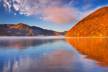 Lake Chuzenji, Japan at sunrise in autumn by Sara Winter