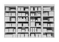 Mall shelves with boxes  isolated on white background von Serhii Zhukovskyi