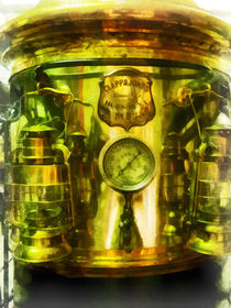 Fire Fighters - Gauge and Two Brass Lanterns on Fire Truck von Susan Savad