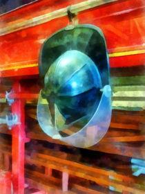 Fireman - Helmet Hanging on Fire Truck von Susan Savad