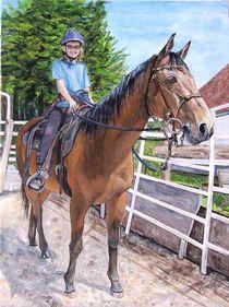 Reiterin mit Pferd by Elisabeth Maier
