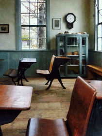 One Room Schoolhouse With Clock by Susan Savad