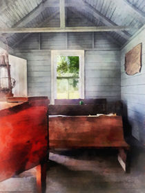 One Room Schoolhouse with Hurricane Lamp by Susan Savad