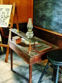 Teacher's Desk With Hurricane Lamp by Susan Savad