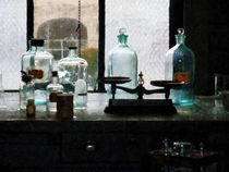 Balance and Bottles in Chem Lab by Susan Savad