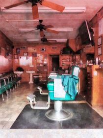 Barber Shop With Green Barber Chair by Susan Savad