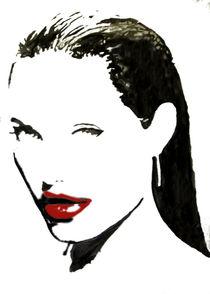 Portrait in Schwarz - weiß mit roten Lippen von einer rätselhaften Frau von Klaus Engels