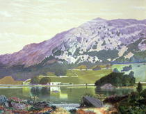 Nab Scar from the South Side of Rydal Water - Heather in Bloom,  by John Atkinson Grimshaw