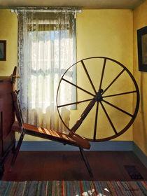 Large Spinning Wheel Near Lace Curtain von Susan Savad