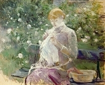 Pasie sewing in Bougival`s Garden by Berthe Morisot