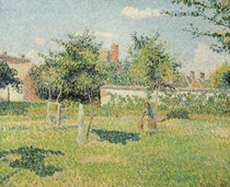 Woman in the Meadow at Eragny, Spring by Camille Pissarro