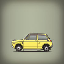 Honda N360 Yellow Kei Car (Square) von monkeycrisisonmars