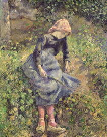 Girl with a Stick von Camille Pissarro