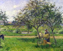 The Wheelbarrow, Orchard by Camille Pissarro