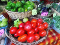 Tomatoes String Beans and Peppers at Farmer's Market by Susan Savad