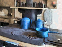 Blue Pots on Stove by Susan Savad
