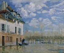 The Boat in the Flood, Port-Marly by Alfred Sisley