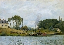 Boats at the lock at Bougival von Alfred Sisley