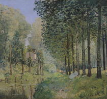 The Rest by the Stream. Edge of the Wood by Alfred Sisley